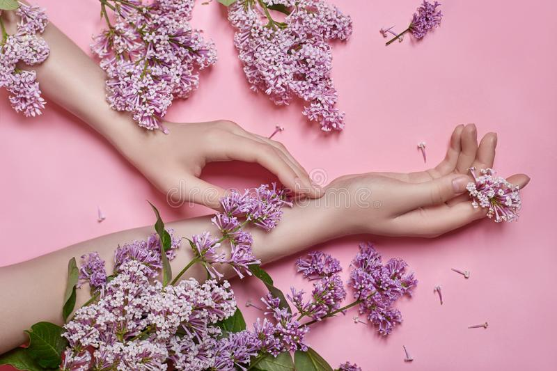 Fashion art hands natural cosmetics women, bright purple lilac flowers in hand with bright contrast makeup, hand care. Creative stock photos