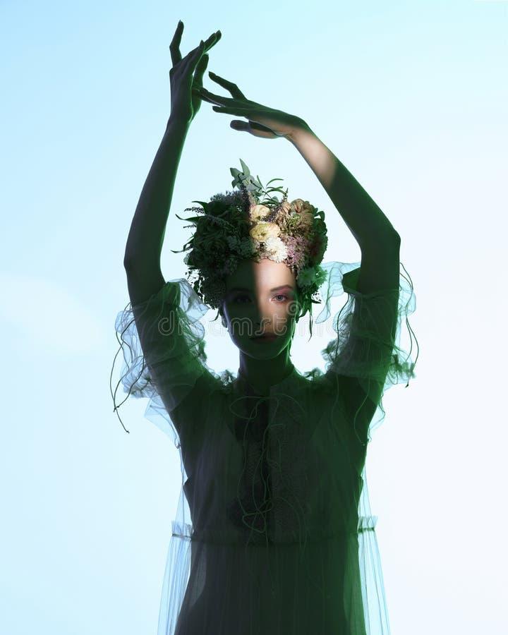 Fashion art photo of beautiful lady in flower diadem stock photos