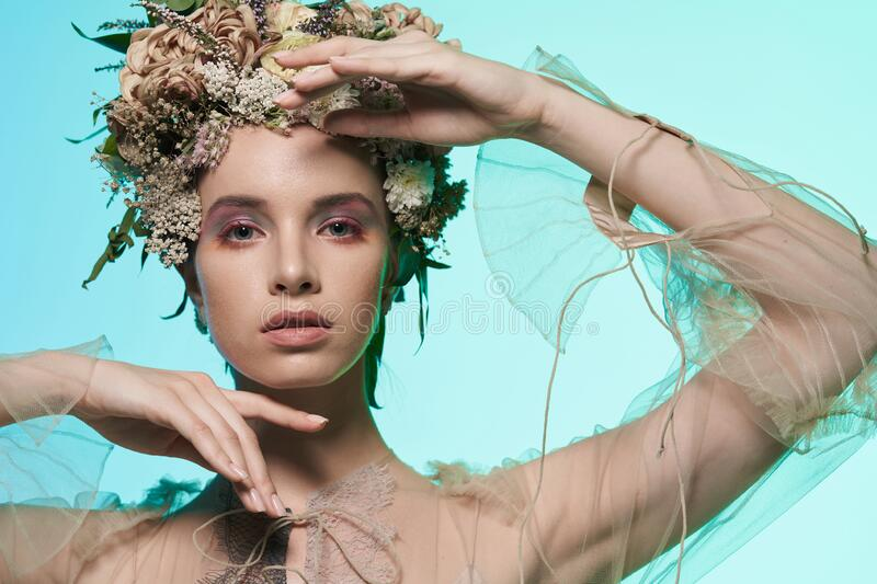 Fashion art photo of beautiful lady in flower diadem royalty free stock photography