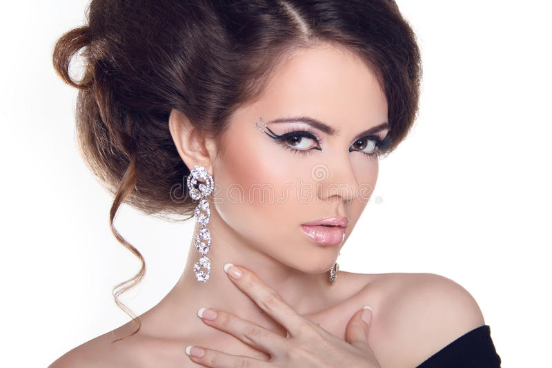 Fashion Art Portrait Of Beautiful Girl. Vogue Style Woman. Hairs. Tyle stock photo