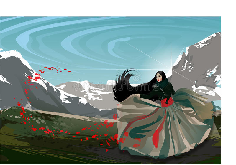 Fashion asian girl in mountains with red flowers