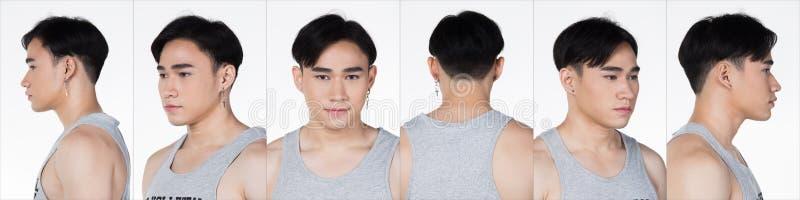 Fashion Asian man black hair eyes collage royalty free stock photos