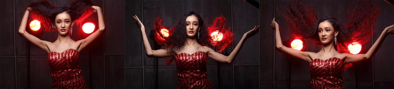Fashion Asian Woman with Update style and make up Hairstyle royalty free stock images