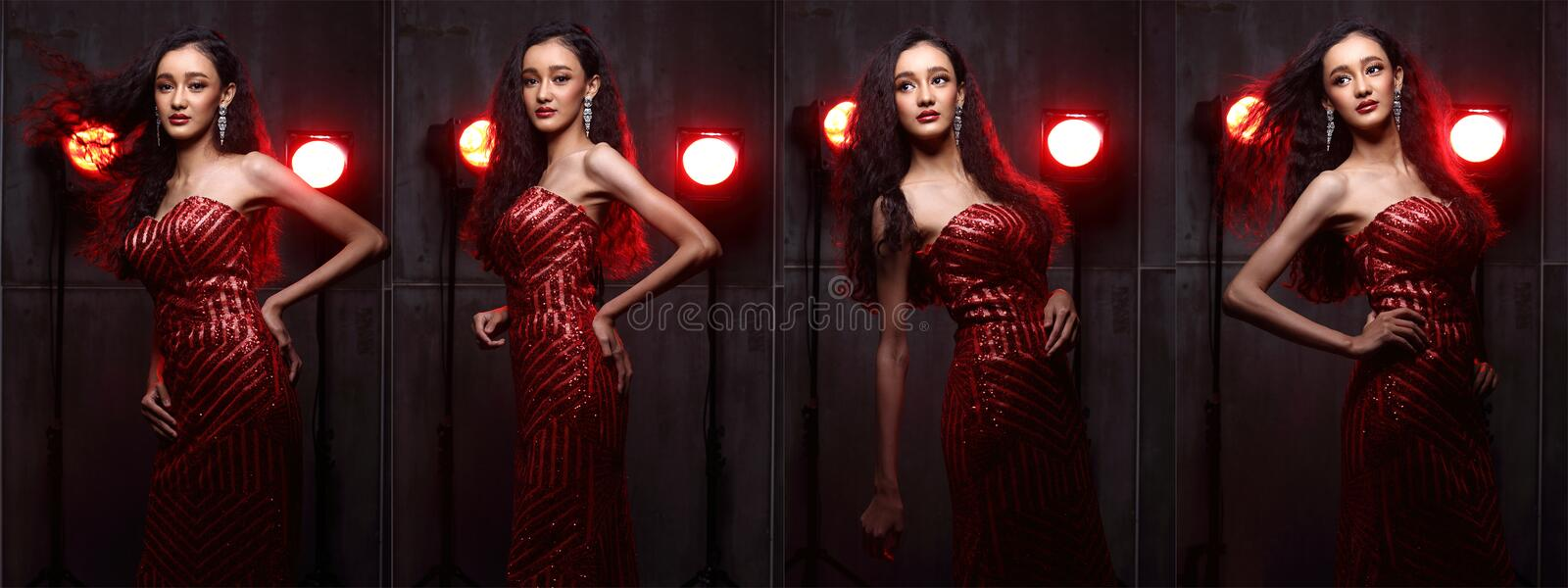 Fashion Asian Woman with Update style and make up Hairstyle royalty free stock photography