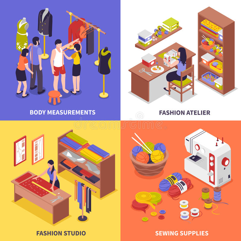 Fashion Atelier 2x2 Design Concept royalty free illustration
