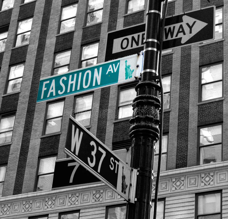 Fashion avenue. Green Fashion avenue board in New York royalty free stock image