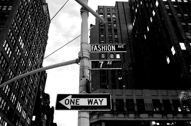 Fashion Avenue in New York City A one-way street arrow. In USA stock image