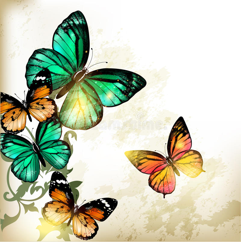 Fashion background with butterflies vector illustration