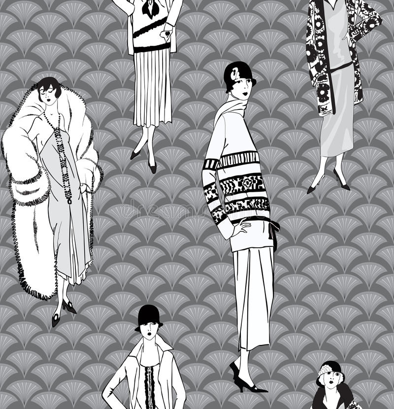 fashion background 1930s retro dress silhouette stock