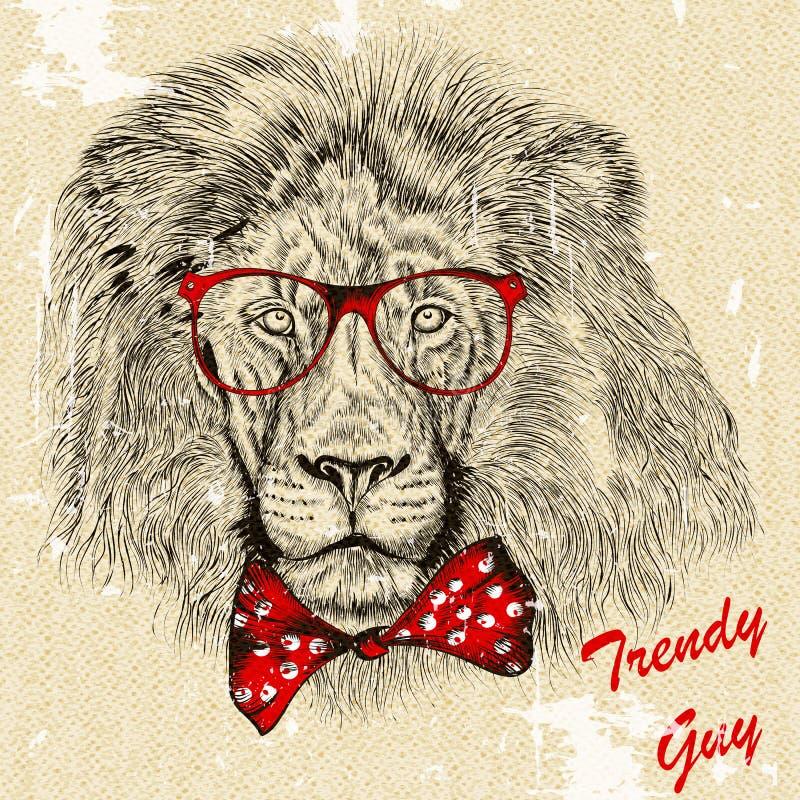 Fashion background with stylish lion guy with bow trendy background stock illustration