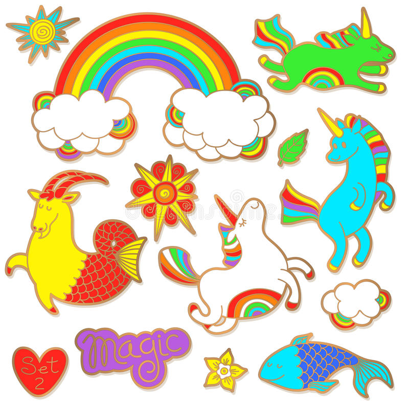 Fashion badge elements in cartoon 80s-90s comic style. Set modern trend doodle pop art sketch. Fashion badge elements in cartoon 80s-90s comic style. Set modern stock illustration