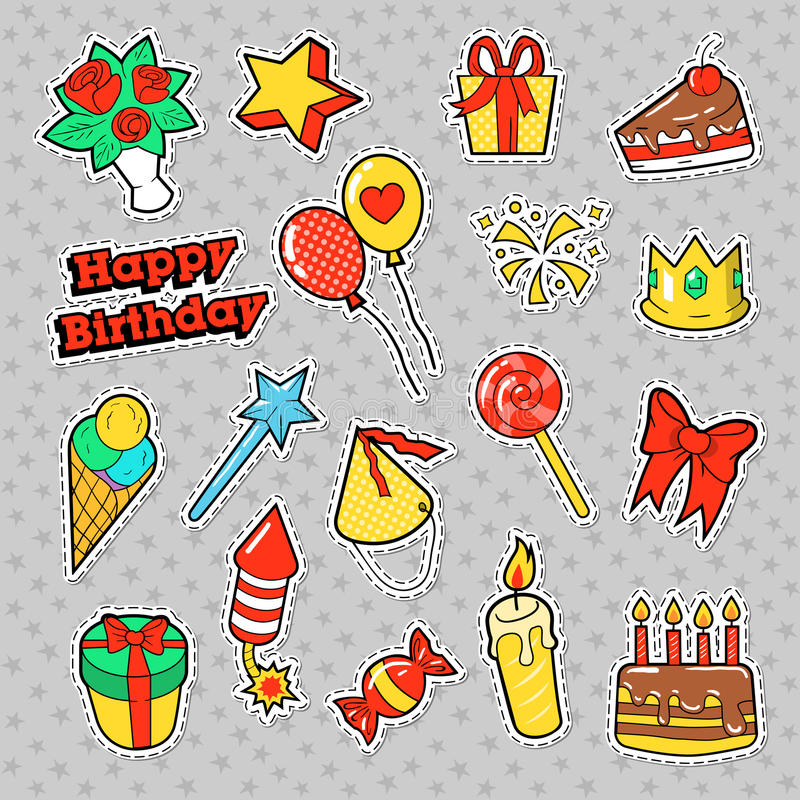 Fashion Badges, Patches, Stickers Birthday Theme. Happy Birthday Party Elements in Comic Style with Cake, Balloons and Gifts. Vector illustration vector illustration