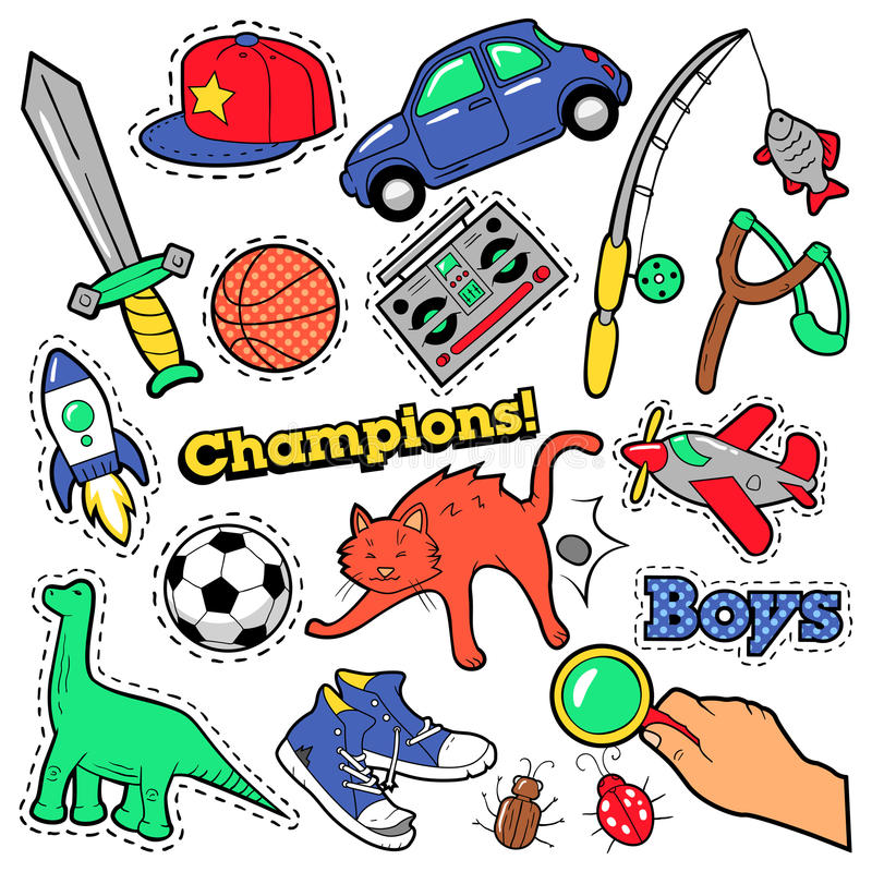 Fashion Badges, Patches, Stickers Boys Theme. Toys, Sports, Car and Music Recorder. In Comic Style. Vector illustration royalty free illustration