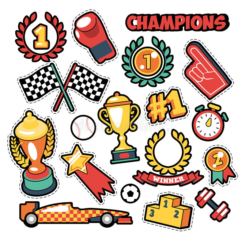 Fashion Badges, Patches, Stickers in Comic Style Champions Theme with Cups, Medals and Sports Equipment. Vector Retro Background vector illustration