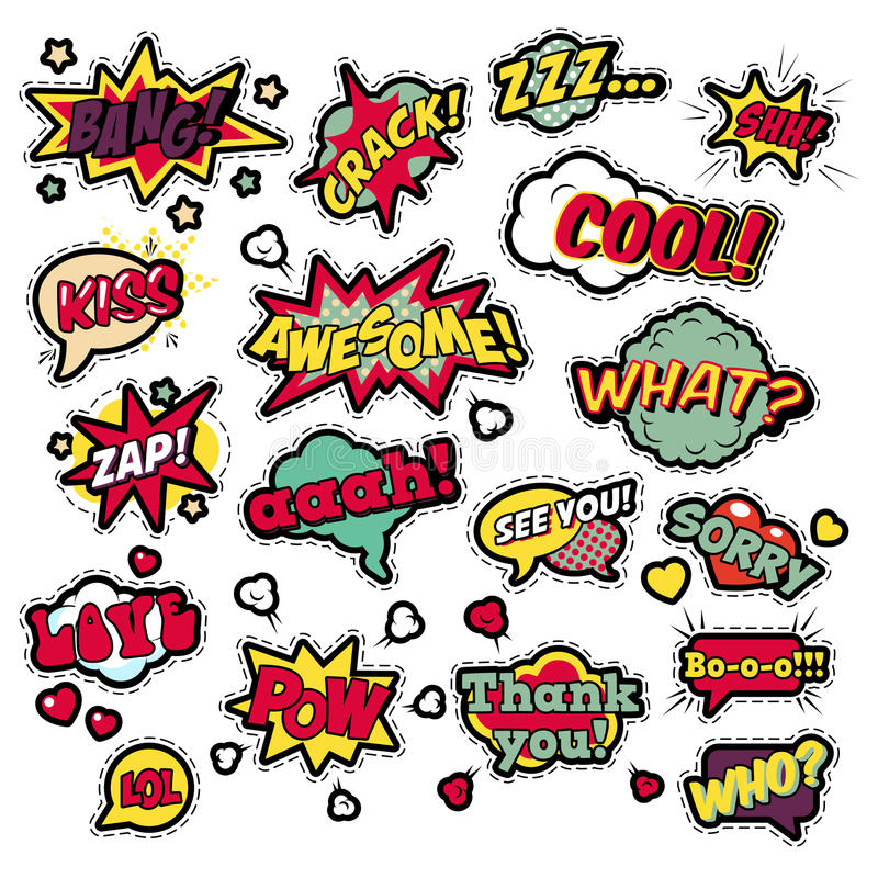 Fashion Badges, Patches, Stickers in Pop Art Comic Speech Bubbles Set with Halftone Dotted Cool Shapes. With Expressions Cool Bang Zap Lol. Vector Retro stock illustration
