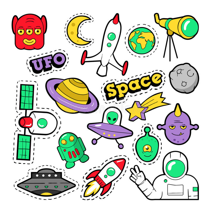 Fashion Badges, Patches, Stickers set with Space, UFO, Robots and Funny Aliens in Pop Art Comic Style royalty free illustration