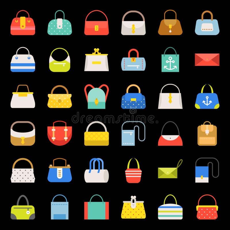 Fashion Bag flat design icon in various style set 2 royalty free illustration