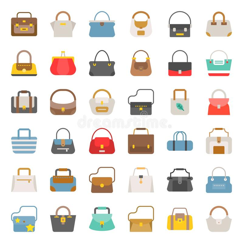 Fashion Bag solid icon in various style such as tote bag, athletic bag, boho, barrel set 2 royalty free illustration