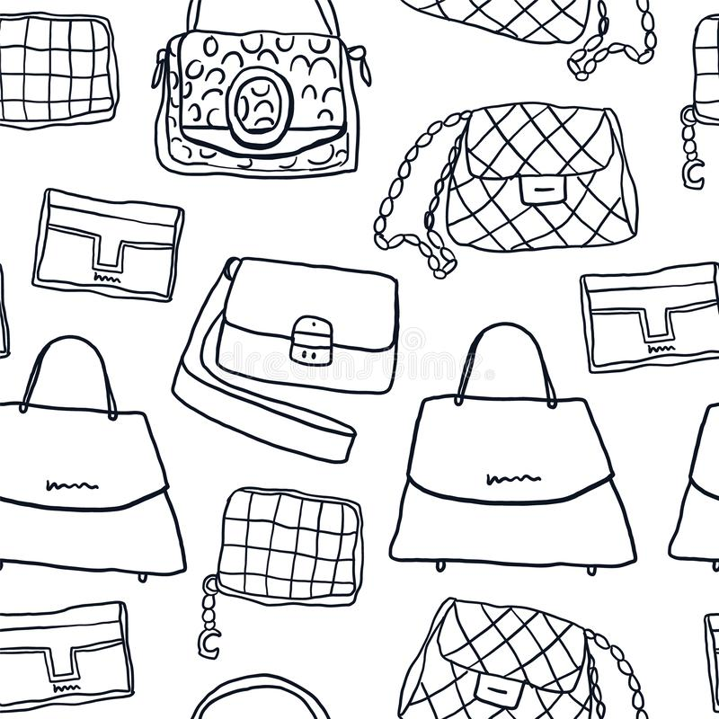 Fashion bags and clutch seamless pattern. stock illustration