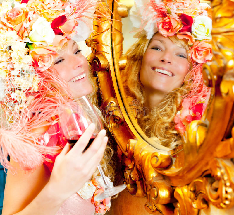 Download Fashion Baroque Blond Womand Drinking Red Wine Stock Photography - Image: 23036882