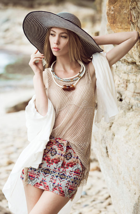 Fashion on a beach stock photos