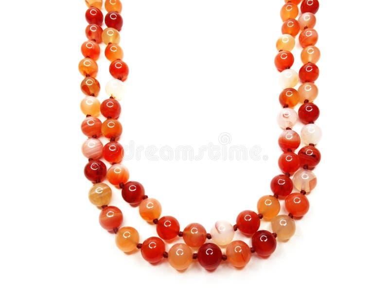 Long beaded crystal gemstone red carnelian necklace jewelry