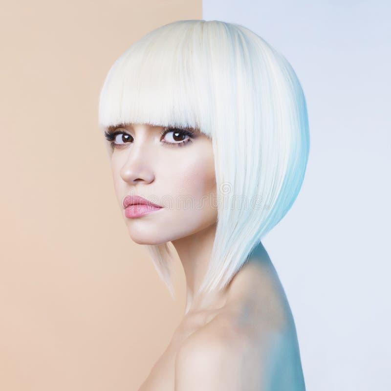 Fashion beautiful blonde with short haircut stock photos