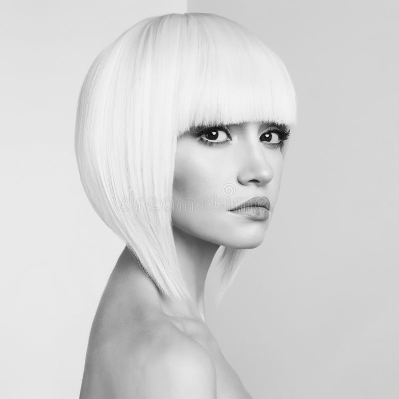 Fashion beautiful blonde with short haircut royalty free stock photo