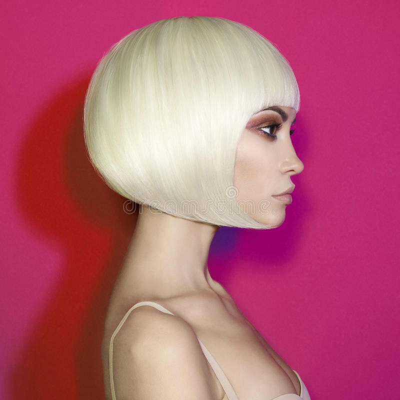 Fashion beautiful blonde with short haircut royalty free stock photos