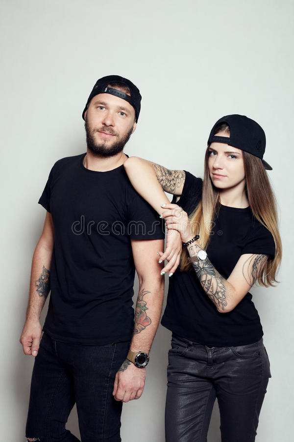Fashion beautiful couple together stock photography