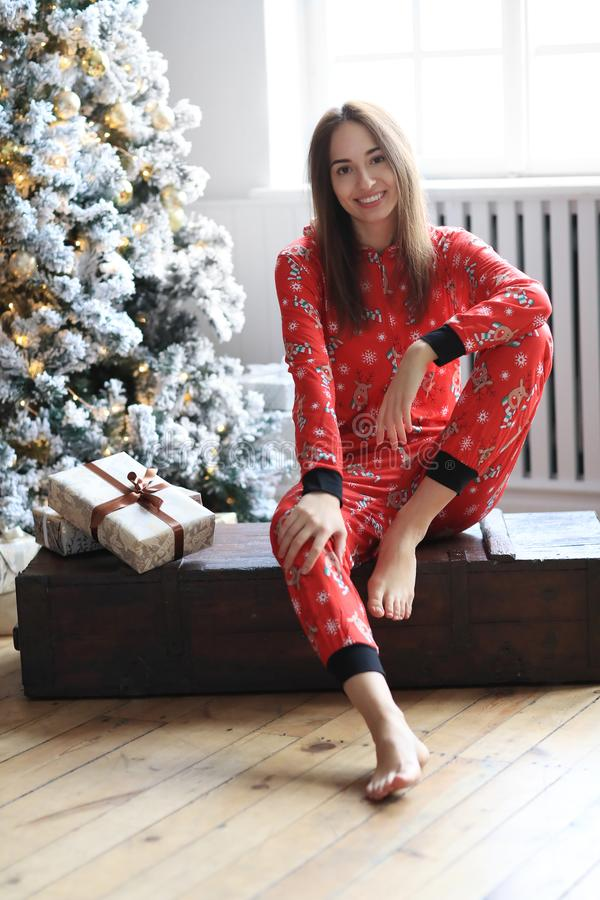 Woman in pajama stock photos