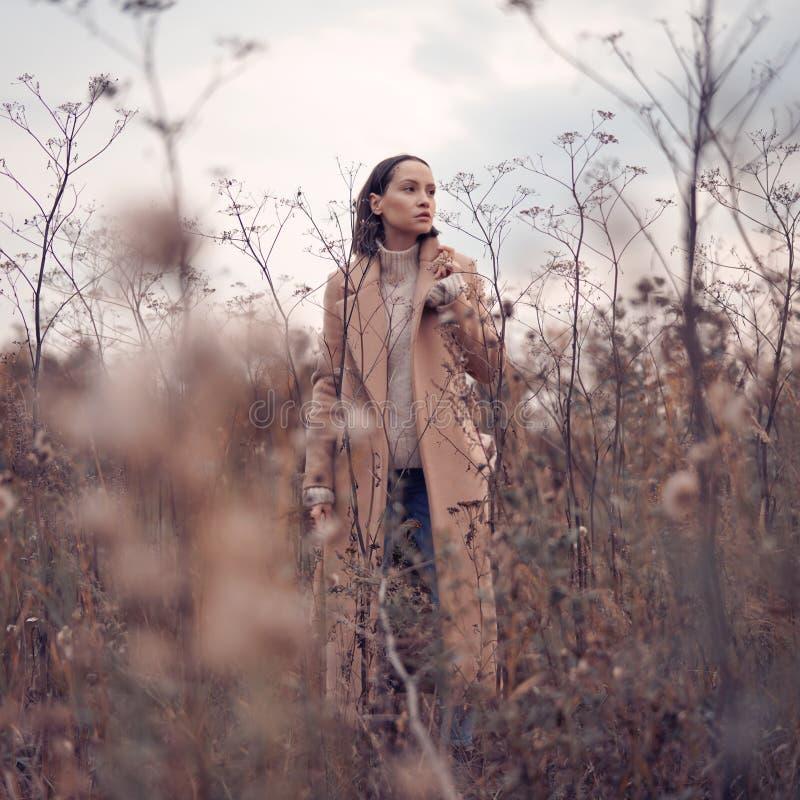 Fashion beautiful lady in autumn landscape stock photos