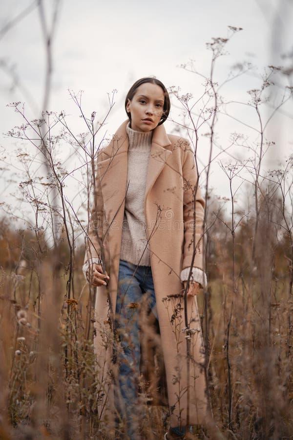 Fashion beautiful lady in autumn landscape stock photography