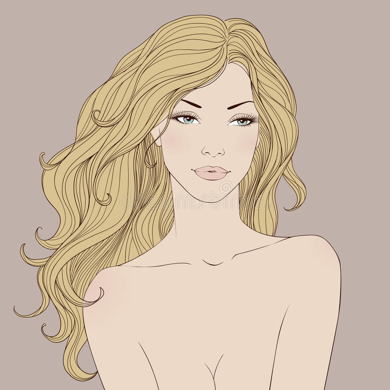 Fashion beautiful woman with long wavy hair Vector royalty free illustration
