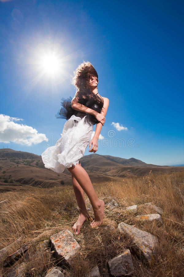 Free Fashion Beautiful Woman Posing In The Mountains Stock Image - 19214131