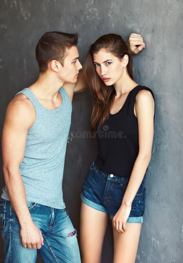 Fashion beautiful young couple stock photos