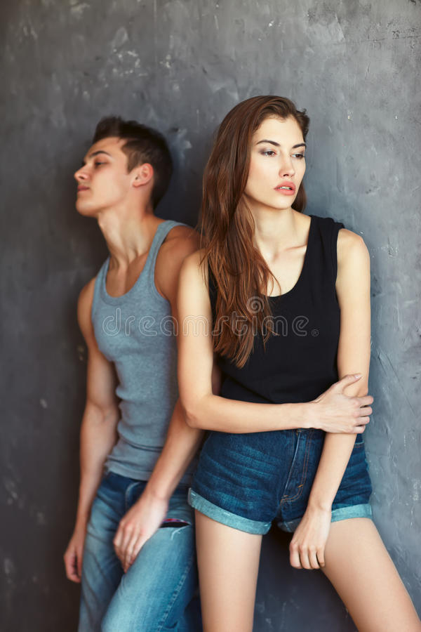 Fashion beautiful young couple in quarre stock images