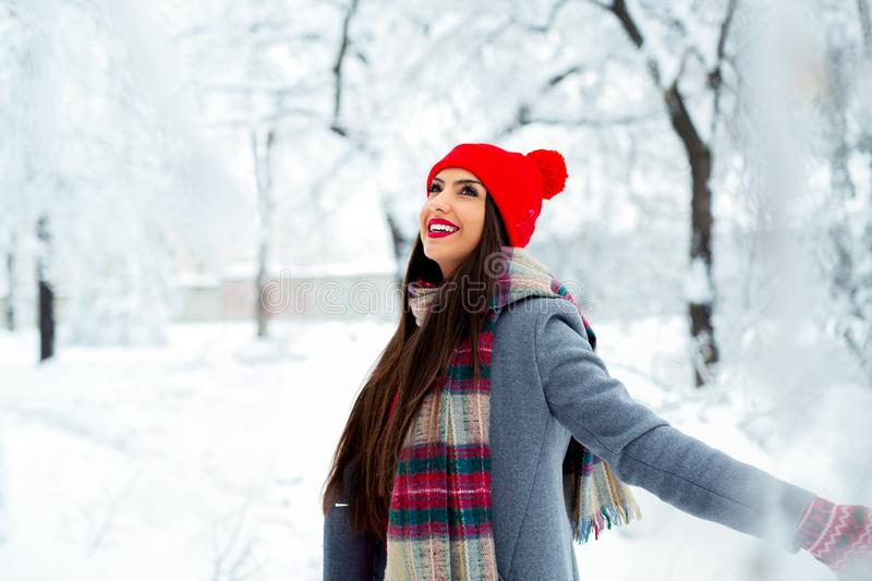 Fashion young woman in the winter time - Image. Fashion beautiful young woman in the winter time - Image royalty free stock photography