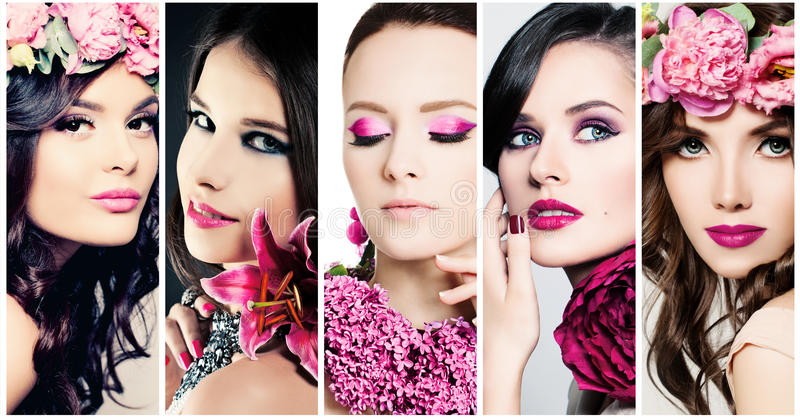 Fashion Beauty Faces. Set of Women. Purple Colors Makeup. Fashion Beauty Faces. Set of Women. Purple Colors Make-up stock image