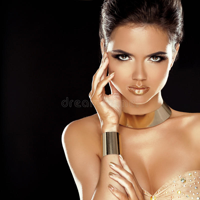 Fashion Beauty Girl Isolated on Black Background. royalty free stock photography