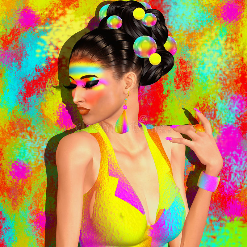 Fashion and beauty image of a woman in a colorful outfit with matching accessories. Makeup,eye shadow and background. 3d illustration great for expressing