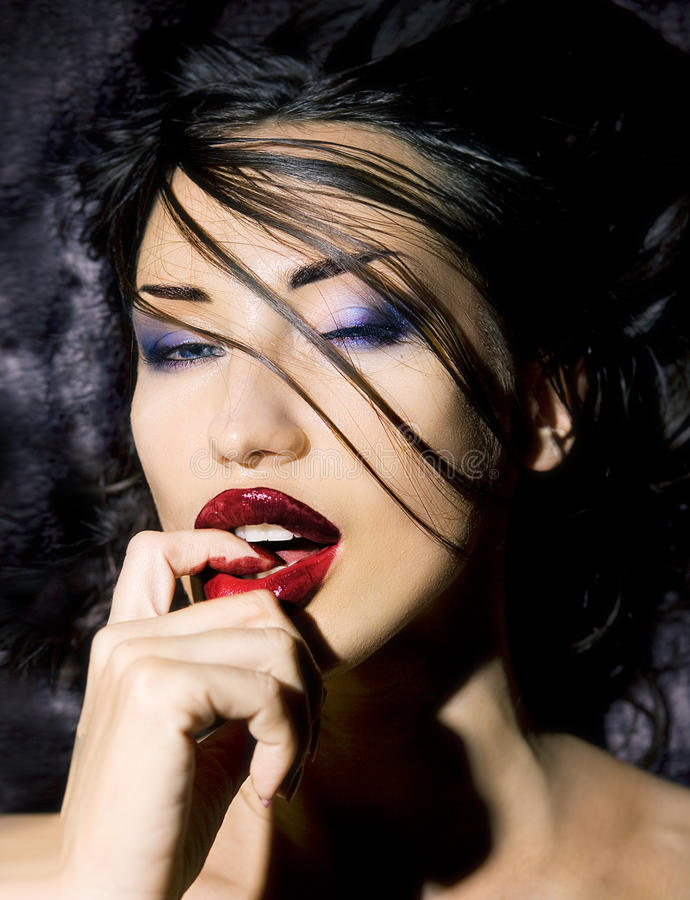 Fashion Beauty. Make-up. Beautiful Woman With Colorful Nail royalty free stock photo