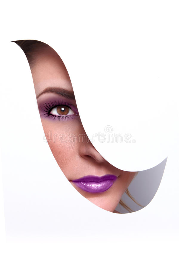 Fashion Beauty Make Up With Matching Lips and Nails stock images