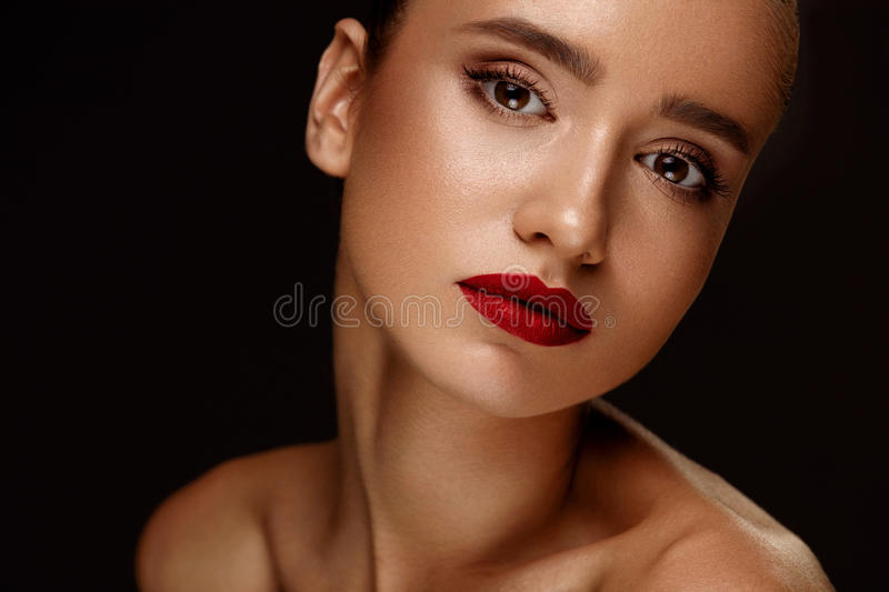 Fashion Beauty Portrait. Woman With Beautiful Makeup, Red Lips royalty free stock image