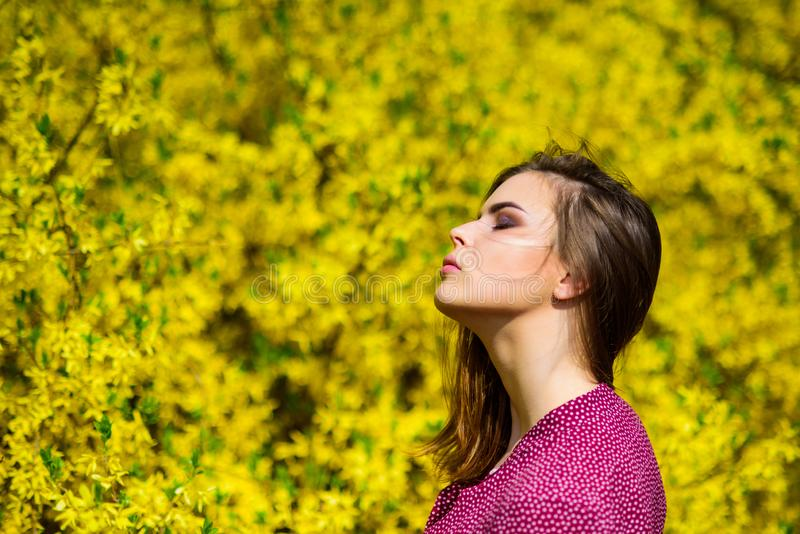 Fashion beauty. summer blooming trees and yellow flowers. sexy woman in spring blossom. natural beauty makeup. hair stock photo