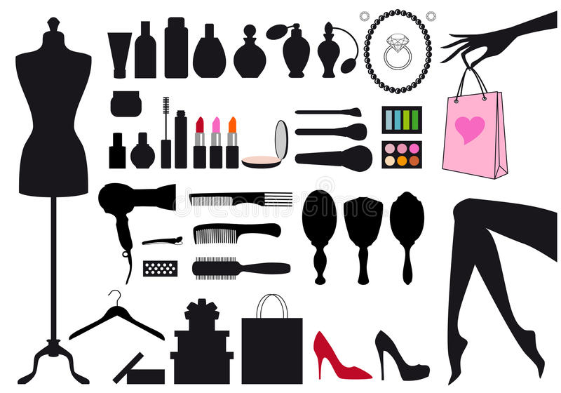 Fashion and beauty, vector set. Fashion and beauty, set of vector design elements vector illustration
