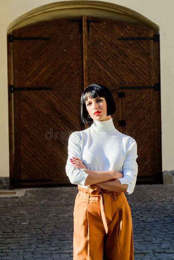 Fashion and beauty. vogue style. sexy fashion model. confident beauty with short brunette hair. trendy makeup. woman. With red lips. businesswoman. elegant stock photo