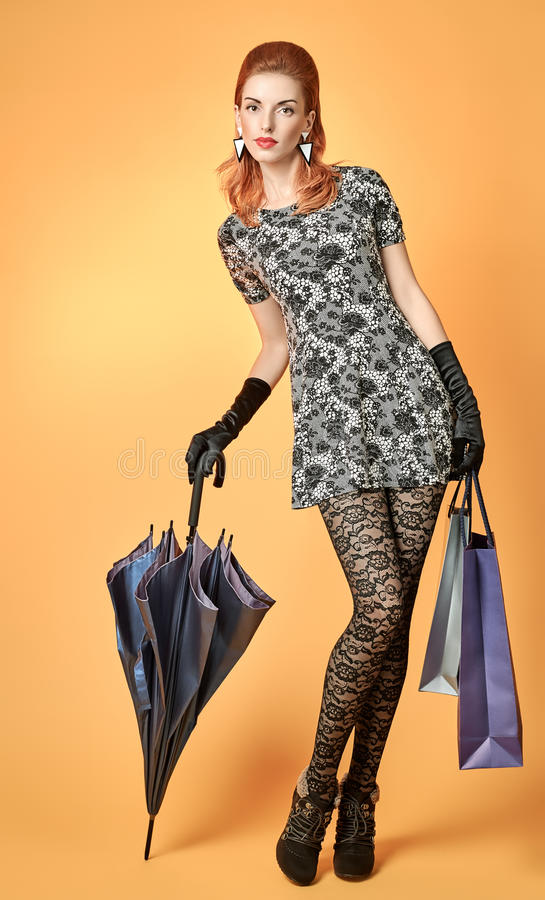 Fashion Beauty Woman Holding Shopping Bags Vintage Stock Photo Image 62208102
