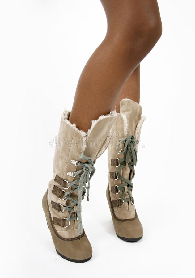 Fashion Beige Fur Women S Boots On A Legs Royalty Free Stock Images