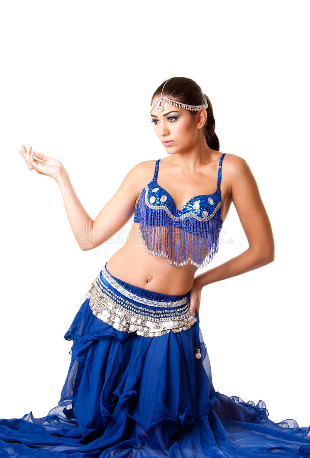 Fashion Belly Dancer Sitting On Knees Royalty Free Stock Image